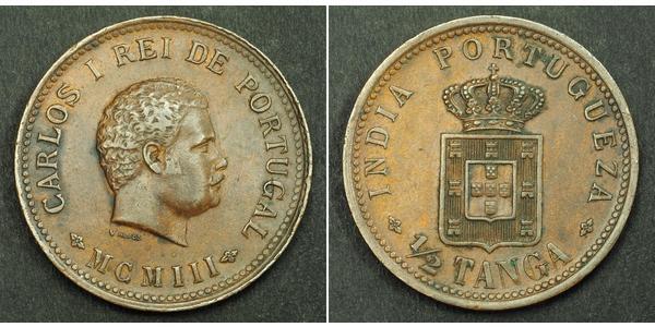 1/2 Tanga Portuguese India (1510-1961) Copper Carlos I of Portugal (1863-1908)