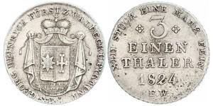 1/3 Thaler 瓦尔德克统治者列表 (1180 - 1918) 銀 格奧爾格二世 (瓦爾德克和皮爾蒙特)
