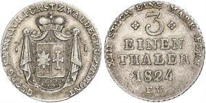 1/3 Thaler Principauté de Waldeck-Pyrmont (1180 - 1918) Argent Georges II de Waldeck-Pyrmont