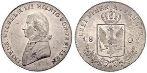 1/3 Thaler Royaume de Prusse (1701-1918) Argent Frédéric-Guillaume III de Prusse (1770 -1840)