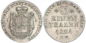 1/3 Thaler Waldeck e Pyrmont (1180 - 1918) Argento Giorgio II di Waldeck e Pyrmont