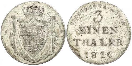 1/3 Thaler Grand Duchy of Oldenburg (1814 - 1918) Plata Peter Friedrich Wilhelm, Duke of Oldenburg