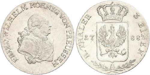 1/3 Thaler Reino de Prusia (1701-1918) Plata Federico Guillermo II de Prusia