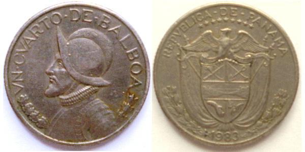 1/4 Бальбоа Панама Нікель/Мідь Бальбоа Васко Нуньєс (1475 – 1519)