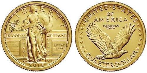 1/4 Доллар / 25 Цент США (1776 - ) Золото