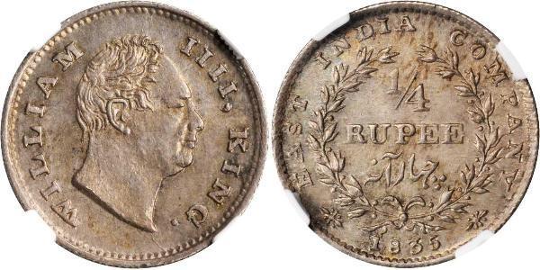 1/4 Рупия Британская империя (1497 - 1949) Серебро Вильгельм IV (1765-1837)