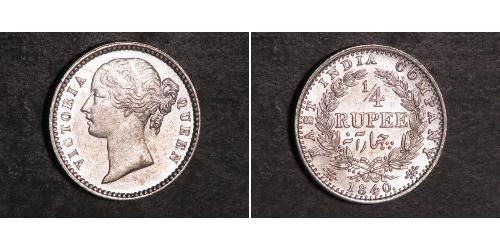 1/4 Рупия Индия Серебро Виктория (1819 - 1901)