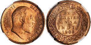 1/4 Anna Raj Británico (1858-1947) Bronce Eduardo VIII (1894-1972)