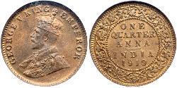 1/4 Anna British Raj (1858-1947) Bronze George V of the United Kingdom (1865-1936)