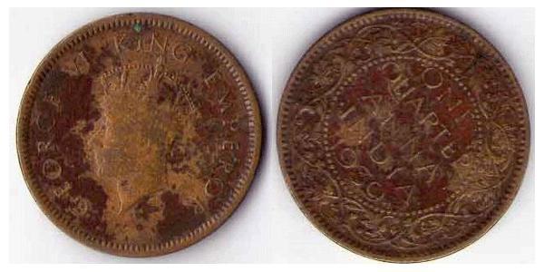 1/4 Anna British Raj (1858-1947) Bronze