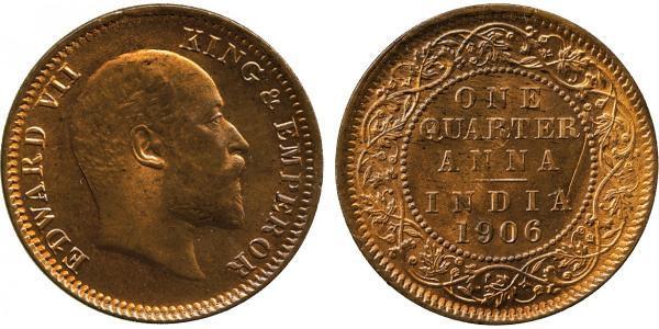 1/4 Anna British Raj (1858-1947) Bronze Edward VIII (1894-1972)