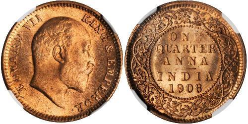 1/4 Anna Raj britannique (1858-1947) Bronze Édouard VIII (1894-1972)