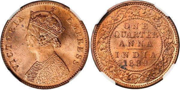 1/4 Anna Raj Británico (1858-1947) Cobre Victoria (1819 - 1901)