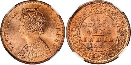1/4 Anna British Raj (1858-1947) Copper Victoria (1819 - 1901)