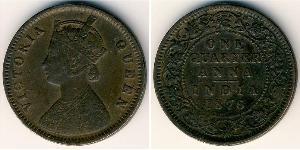 1/4 Anna Raj Britannico (1858-1947) Rame Vittoria (1819 - 1901)