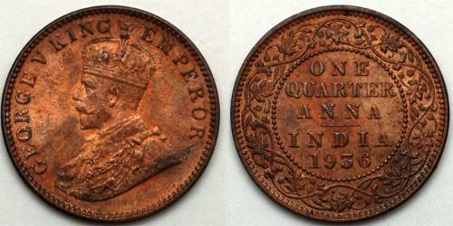 1/4 Anna Raj britannique (1858-1947)  George V (1865-1936)