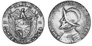 1/4 Balboa Republic of Panama Silver Vasco Núñez de Balboa (1475 – 1519)