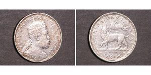 1/4 Birr Etiopia Argento Menelik II of Ethiopia ( 1844 -1913)