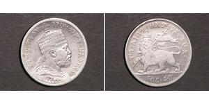 1/4 Birr Etiopía Plata Menelik II of Ethiopia ( 1844 -1913)