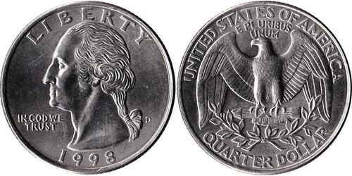 1/4 Dólar Estados Unidos de América (1776 - ) Níquel/Cobre George Washington