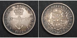 1/4 Dólar Raj Británico (1858-1947) Plata Jorge IV (1762-1830)