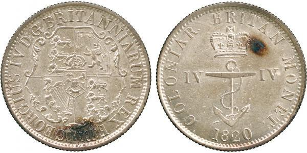 1/4 Dollar British Raj (1858-1947) Silver George IV (1762-1830)