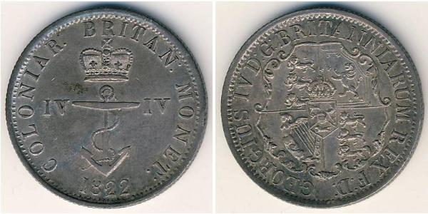 1/4 Dollar British Raj (1858-1947) Silver George IV (1762-1830)
