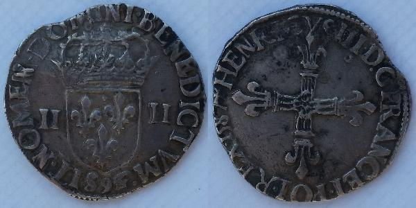 1/4 Ecu France Silver Henry III of France (1551 - 1589)