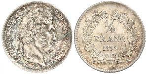 1/4 Franc Monarquía de Julio (1830-1848) Plata Luis Felipe I de Francia  (1773 -1850)