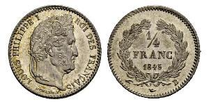 1/4 Franc July Monarchy (1830-1848) Silver Louis Philippe I of France (1773 -1850)