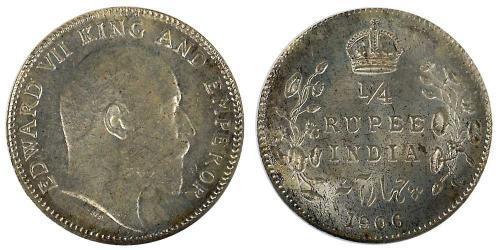 1/4 Rupee 英属印度 (1858 - 1947) 銀 爱德华七世 (1841-1910)