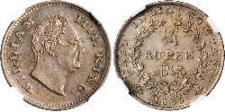 1/4 Rupee Impero britannico (1497 - 1949) Argento Guglielmo IV (1765-1837)