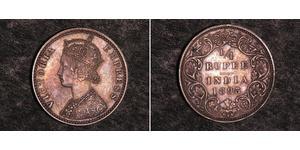 1/4 Rupee Raj Britannico (1858-1947) Argento Vittoria (1819 - 1901)