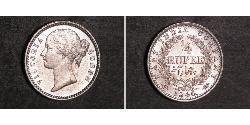 1/4 Rupee India Plata Victoria (1819 - 1901)