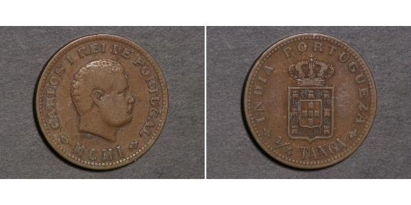 1/4 Tanga Portuguese India (1510-1961) Copper Carlos I of Portugal (1863-1908)