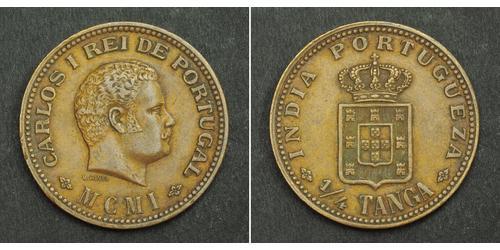 1/4 Tanga India portoghese (1510-1961) Rame Carlo I del Portogallo (1863-1908)