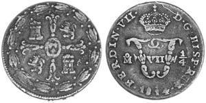 1/4 Tlaco Новая Испания (1519 - 1821) Медь Фердинанд VII король Испании (1784-1833)