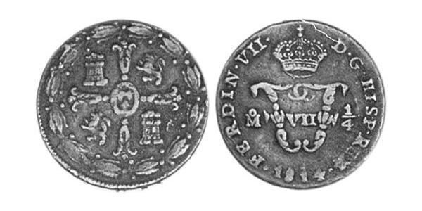 1/4 Tlaco Spanish Mexico  / Kingdom of New Spain (1519 - 1821) Copper Ferdinand VII of Spain (1784-1833)