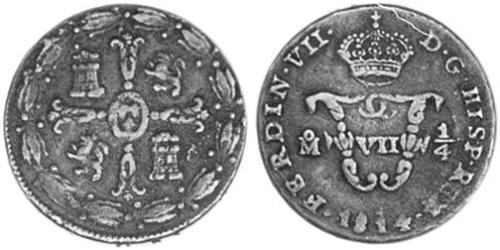 1/4 Tlaco Nouvelle-Espagne (1519 - 1821) Cuivre Ferdinand VII d