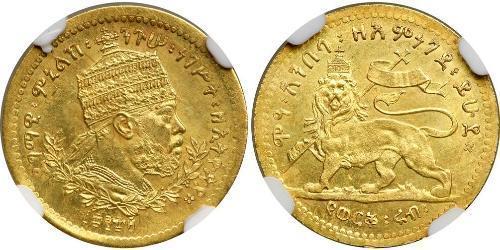 1/4 Werk Äthiopien Gold Menelik II of Ethiopia ( 1844 -1913)
