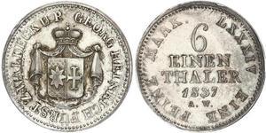 1/6 Талер Вальдек (1180 - 1918) Серебро Георг II (князь Вальдек-Пирмонта)