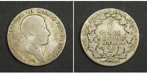 1/6 Талер Пруссия (королевство) (1701-1918) Серебро Фридрих Вильгельм III, король Пруссии (1770 -1840)