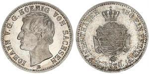 1/6 Талер Саксония (королевство) (1806 - 1918) Серебро Иоганн (король Саксонии)