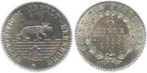 1/6 Талер Ангальт-Бернбург (1603 - 1863) Срібло Alexander Karl, Duke of Anhalt-Bernburg (1805 – 1863)