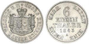 1/6 Талер null Срібло Георг II (князь Вальдек-Пірмонту)