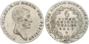 1/6 Thaler 普魯士王國 (1701 - 1918) 銀 腓特烈·威廉三世 (1770 -1840)