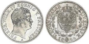 1/6 Thaler 普魯士王國 (1701 - 1918) 銀 腓特烈·威廉四世 (1795 - 1861)