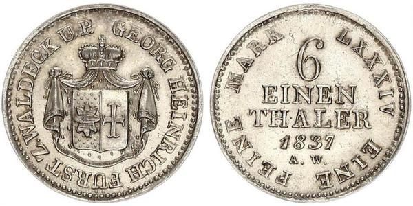 1/6 Thaler 瓦尔德克统治者列表 (1180 - 1918) 銀 格奧爾格二世 (瓦爾德克和皮爾蒙特)