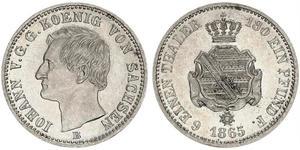 1/6 Thaler 萨克森王国 (1806 - 1918) 銀 约翰一世 (萨克森)