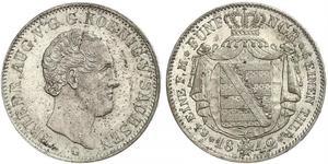 1/6 Thaler 萨克森王国 (1806 - 1918) 銀 弗里德里希·奥古斯特二世